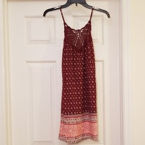 LA Hearts Crochet Top Burgundy Dress M